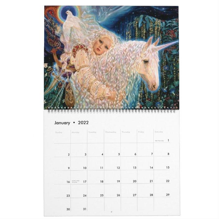 Unicorn Calendar 2022.The Mystical Unicorn Calendar By Elizabeth Kyle Zazzle Com