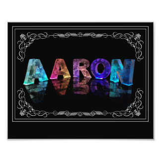 The Name Aaron in 3D Lights (Photograph) Photo Print