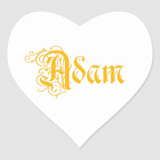 The Name Adam in Beautiful Old Word Calligraphy Heart Sticker