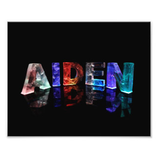 The Name Aiden in 3D Lights Photo Print