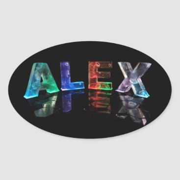 NamesInLights The Name Alex in Lights Oval Sticker
