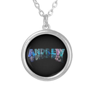 The Name Andrew in Lights Round Pendant Necklace