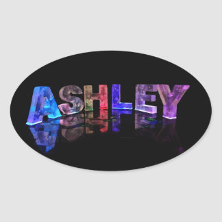 The Name Ashley in 3D Lights Oval Stickers