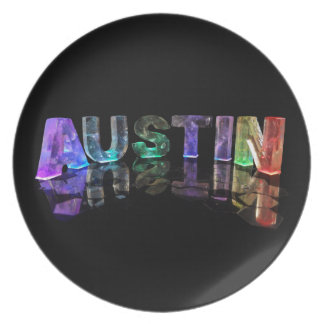 The Name Austin in 3D Lights Dinner Plate