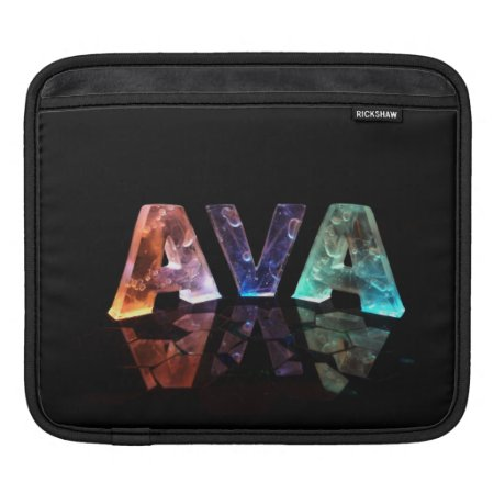 The Name Ava in 3D Lights iPad Sleeve