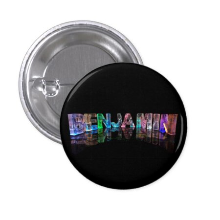 The Name Benjamin in 3D Lights Pinback Button