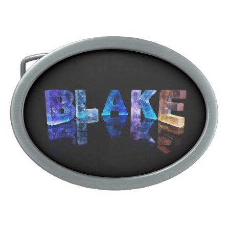 The Name Blake in 3D Lights Oval Belt Buckles