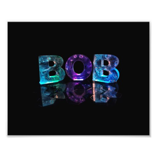 The Name Bob in 3D Lights Photo Print
