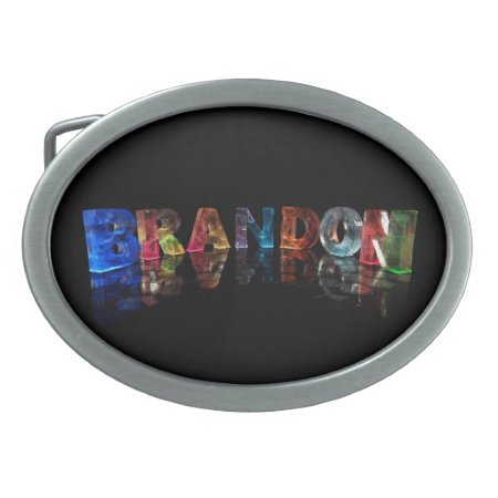 The Name Brandon in 3D Lights Belt Buckles