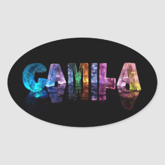 The Name Camila in 3D Lights Oval Sticker
