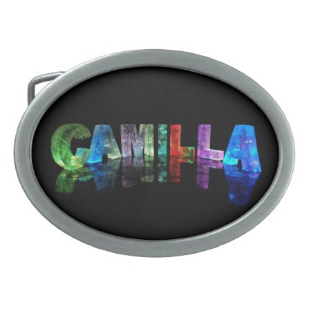 The Name Camilla in 3D Lights Oval Belt Buckles