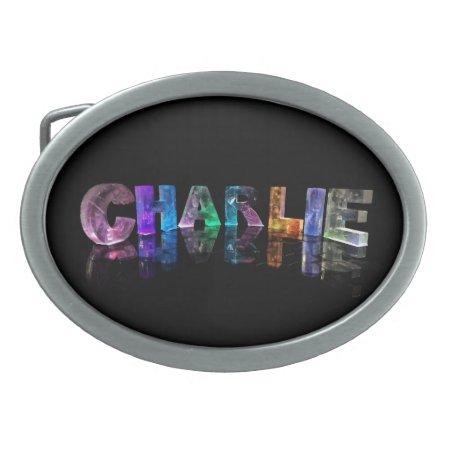 The Name Charlie in 3D Lights Oval Belt Buckle