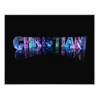 The Name Christian in 3D Lights Photo Print