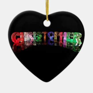 The Name Christopher in 3D Lights Ceramic Ornament