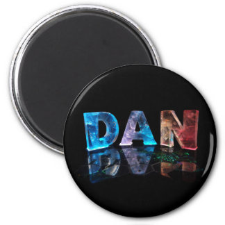 The Name Dan in 3D Lights (Photograph) 2 Inch Round Magnet