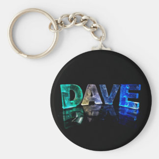 The Name Dave in 3D Lights (Photograph) Basic Round Button Keychain