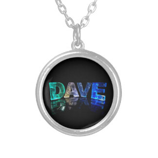The Name Dave in 3D Lights (Photograph) Silver Plated Necklace