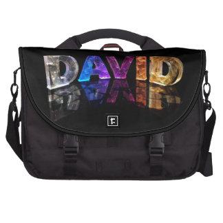 The Name David in 3D Lights (Photograph) Laptop Shoulder Bag