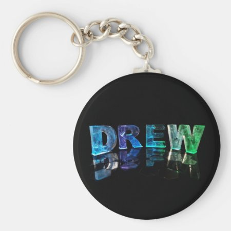 The Name Drew in 3D Lights (Photograph) Keychain