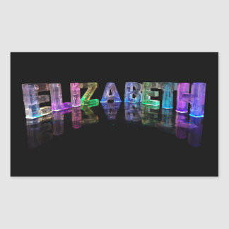The Name Elizabeth in 3D Lights (Photograph) Rectangular Sticker