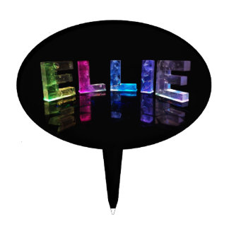 The Name Ellie in 3D Lights (Photograph) Cake Topper