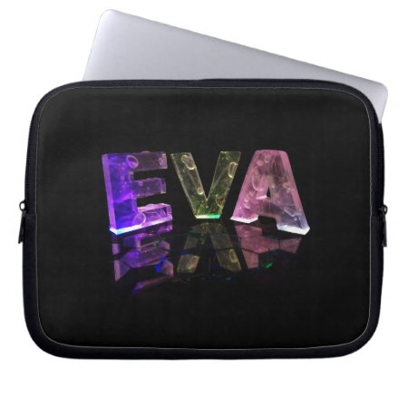 The Name Eva in 3D Lights (Photograph) Computer Sleeves