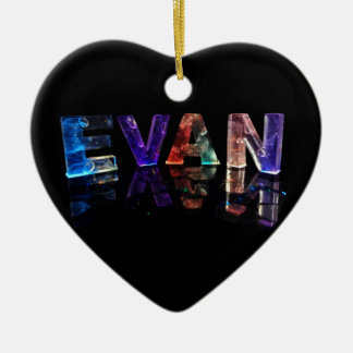 The Name Evan in 3D Lights (Photograph) Ceramic Ornament