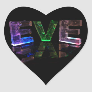 The Name Eve in 3D Lights (Photograph) Heart Sticker