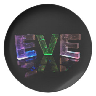 The Name Eve in 3D Lights Photograph Party Plate