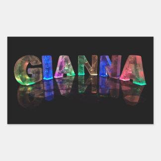 The Name Gianna in 3D Lights (Photograph) Rectangular Sticker