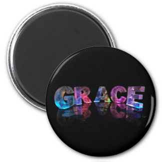 The Name Grace in 3D Lights (Photograph) 2 Inch Round Magnet