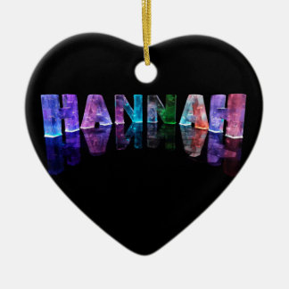 The Name Hannah in 3D Lights (Photograph) Ceramic Ornament