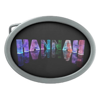 The Name Hannah in 3D Lights (Photograph) Oval Belt Buckle