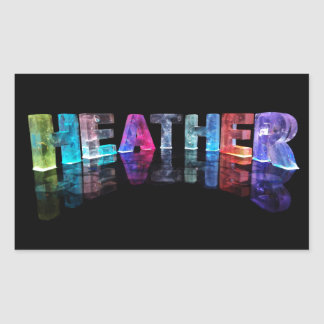 The Name Heather in 3D Lights (Photograph) Rectangular Sticker