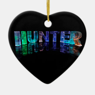 The Name Hunter in 3D Lights (Photograph) Ceramic Heart Decoration
