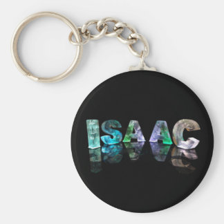 The Name Isaac in 3D Lights (Photograph) Basic Round Button Keychain