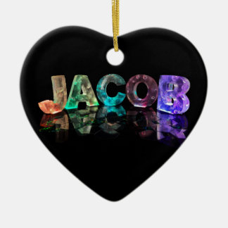The Name Jacob in 3D Lights (Photograph) Ceramic Ornament