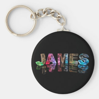 The Name James in 3D Lights (Photograph) Basic Round Button Keychain