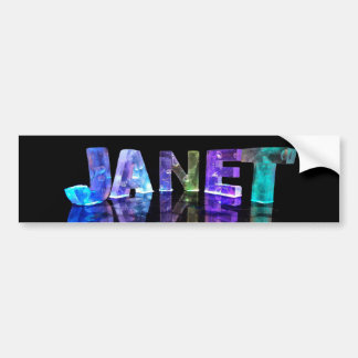 The Name Janet in 3D Lights (Photograph) Car Bumper Sticker