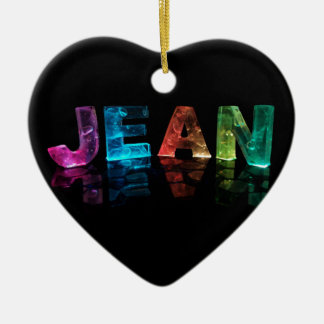 The Name Jean in 3D Lights (Photograph) Ceramic Ornament