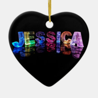 The Name Jessica in 3D Lights (Photograph) Ceramic Ornament