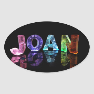 The Name Joan in 3D Lights (Photograph) Oval Sticker