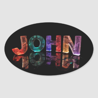 The Name John in 3D Lights (Photograph) Oval Sticker