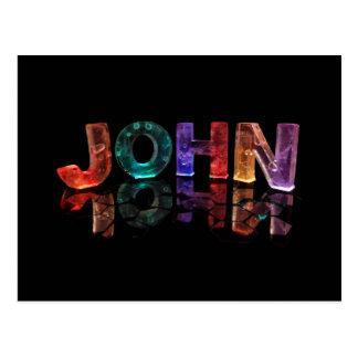 The Name John in 3D Lights (Photograph) Postcard