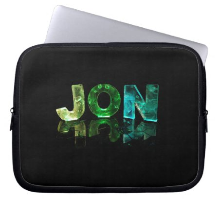 The Name Jon in 3D Lights (Photograph) Computer Sleeve