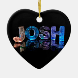 The Name Josh in 3D Lights (Photograph) Ceramic Ornament
