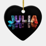 The Name Julia in 3D Lights (Photograph) Double-Sided Heart Ceramic Christmas Ornament