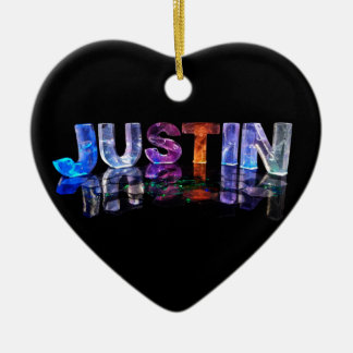 The Name Justin in 3D Lights (Photograph) Ceramic Ornament