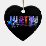 The Name Justin in 3D Lights (Photograph) Double-Sided Heart Ceramic Christmas Ornament