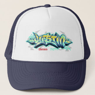 The name Justin in graffiti-Trucker Hat